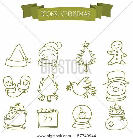 Holiday and Christmas icons set vector collection stock