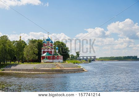Orthodox Cathedral on the banks of the Volga River in the historic town of Uglich, Russia