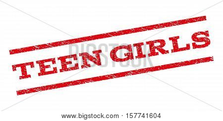 Teen Girls watermark stamp. Text caption between parallel lines with grunge design style. Rubber seal stamp with dust texture. Vector red color ink imprint on a white background.