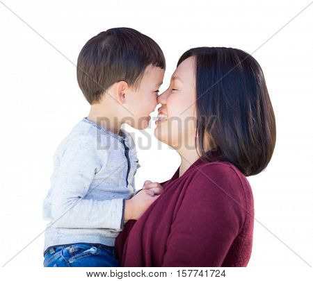 Happy Playful Young Mixed Race Chinese Mother and Son Isolated on a White Background.