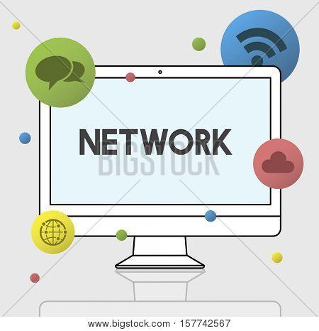 Internet Communication Network Icon Concept