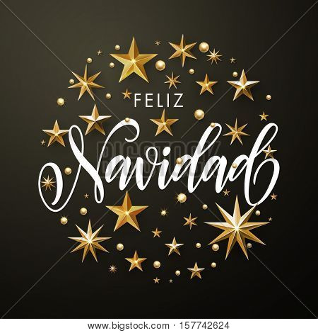 Merry Christmas greeting card of gold glitter stars. Round Christmas ornament decorations. Vector calligraphy lettering. Vector wreath of stars of golden foil glittering gilding