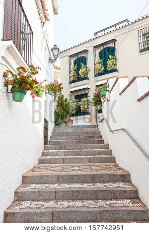 Stairway in the andalusian town Estepona Spain