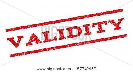 Validity watermark stamp. Text tag between parallel lines with grunge design style. Rubber seal stamp with dirty texture. Vector red color ink imprint on a white background.
