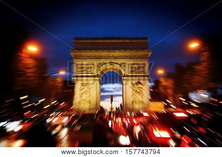 Triumphal Arch In Paris At Night With Zoom Effect