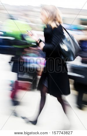 Traveling Woman At The Railway Station