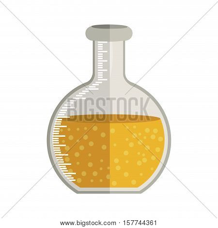 Glass circular beaker for laboratory with liquid solution vector illustration