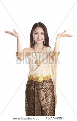 Asian woman traditional dance with white background