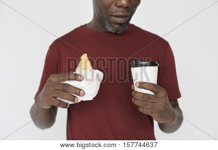 Man Smiling Happiness Sandwiches Coffee Portrait Concept