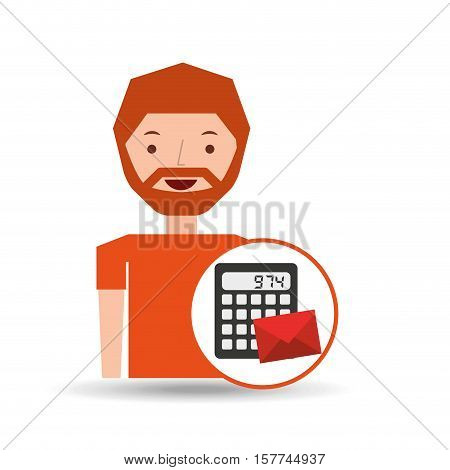 man business message calculator email vector illustration eps 10