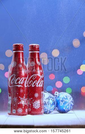 Kuala Lumpur, Malaysia 18th Nov 2016,christmas design of coca cola aluminum bottle
