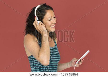 Girl Listening Music Headphones Concept