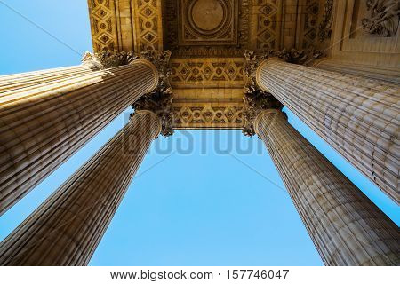 Detail With Columns Of The Pantheon In Paris