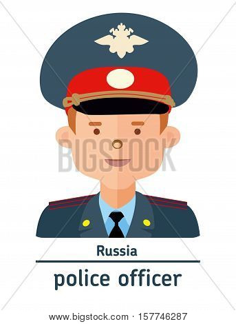 Avatar Russia police officer on white background. Flat design.  Avatar for app