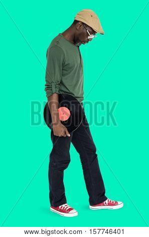 Man Holding Vinyl Retro Concept
