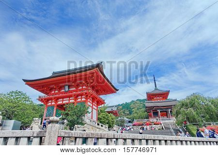 Kyoto May-31 2015 Landscape image and international tourists enjoy in front of Kiyomizu temple in cloudy bright sky day Kyoto Japan.