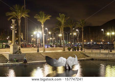CARTAGENA SPAIN - OCT 22 2016: Whale tail sculpture in Cartagena port. Region of Murcia Spain