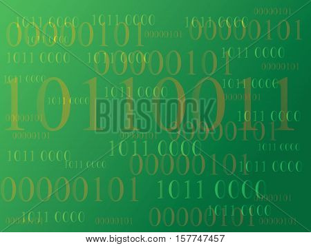 Abstract information background with binary code. Green technology.