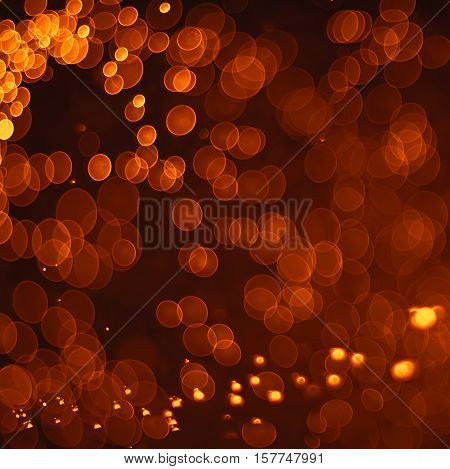 Abstract Orange Grunge Christmas Background. Festive Elegant Abstract Background With Bokeh Lights.