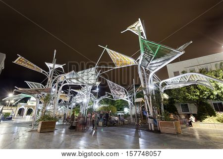 CARTAGENA SPAIN - OCT 22 2016: Plaza del Rey square at night in Cartagena. Region of Murcia Spain