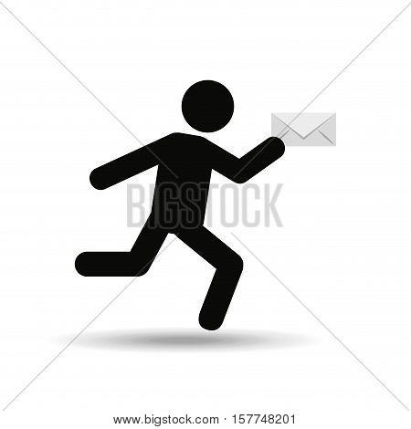 sihouette man running email vector illustration eps 10