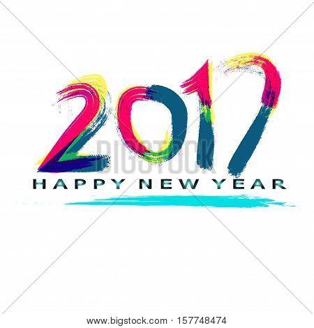 2017 happy new year paint art idea on white background