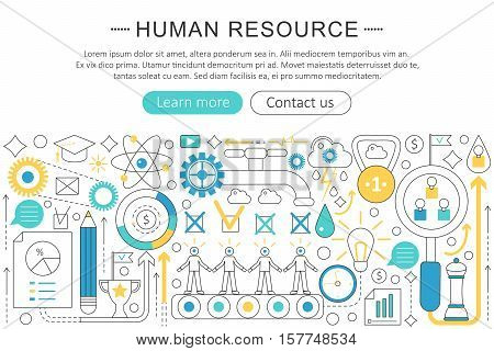 Vector modern line flat design Human resource concept. Human resource icons Website Header, app design poster banner