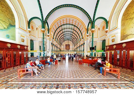 Interior Of Saigon Central Post Office In Ho Chi Minh, Vietnam