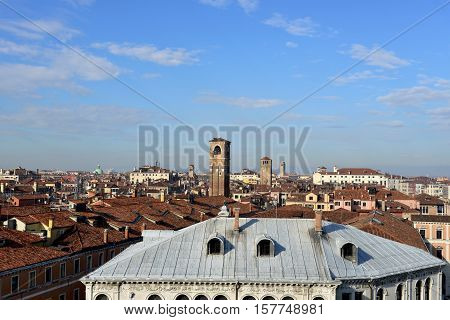 Venice historic center morning skyline with old bell towers