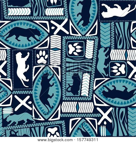 Tribal tiger in a repeat seamless pattern .
