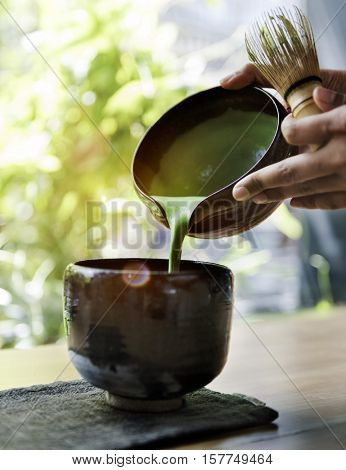 Tea Aromatic Drink Freshness Matcha Pouring Concept