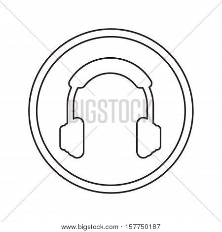 Headphone device icon. Music sound and stereo theme. Isolated design. Vector illustration