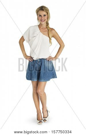 Cheerful Blonde Girl Standing Smiling Studio Concept