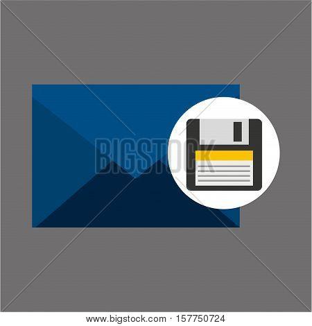 email message floppy backup icon vector illustration eps 10