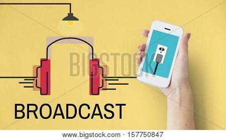 Music Audio Multimedia Headphone Concept