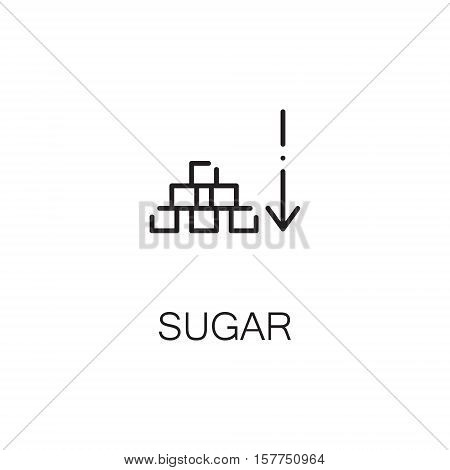 Sugar flat icon. Single high quality outline symbol of sweet food for web design or mobile app. Thin line signs of sugar for design logo, visit card, etc. Outline pictogram of sugar