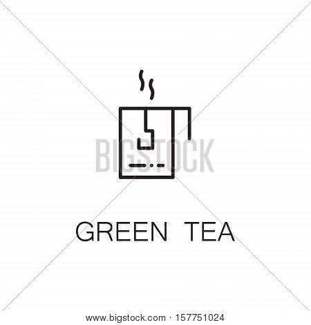 Green tea flat icon. Single high quality outline symbol of drink for web design or mobile app. Thin line signs of tea for design logo, visit card, etc. Outline pictogram of tea
