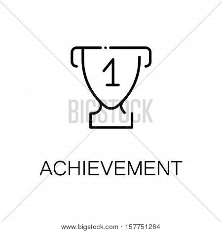 Achievement flat icon. Single high quality outline symbol of fitness for web design or mobile app. Thin line signs of achievement for design logo, visit card, etc. Outline pictogram of achievement