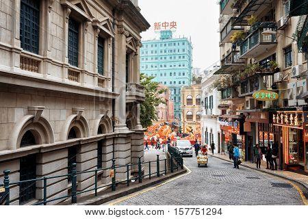 The Street Leading To The Senado Square In Macau