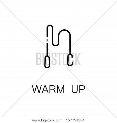 Warm up flat icon. Single high quality outline symbol of fitness for web design or mobile app. Thin line signs of jump rope for design logo, visit card, etc. Outline pictogram of jump rope