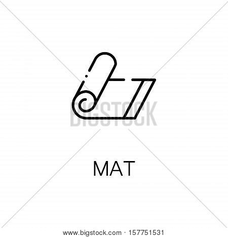 Mat flat icon. Single high quality outline symbol of fitness for web design or mobile app. Thin line signs of mat for design logo, visit card, etc. Outline pictogram of mat