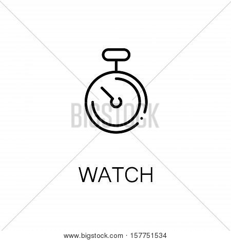 Watch flat icon. Single high quality outline symbol of fitness for web design or mobile app. Thin line signs of stopwatch for design logo, visit card, etc. Outline pictogram of stopwatch