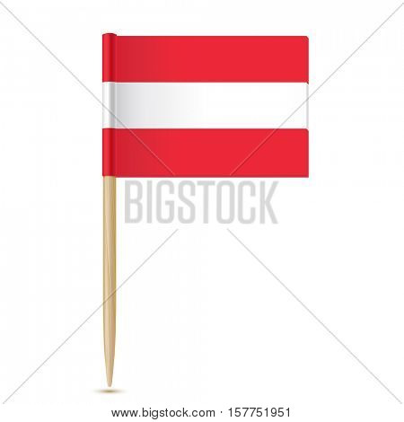 Austria flag toothpick on white background 10eps