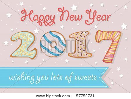 Happy New Year 2017. Wishing you lots of sweets. Colorful donuts font. Celebration pink background with confetti stars. Greeting card. Blue banner for custom text. Years specific. Vector illustration.