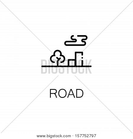 Road flat icon. Single high quality outline symbol of travel for web design or mobile app. Thin line signs of tourism for design logo, visit card, etc. Outline pictogram of road