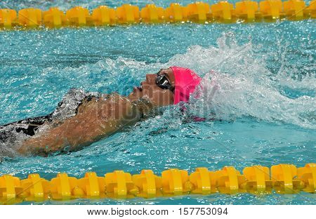 Hong Kong China - Oct 29 2016. Russian olympian and world champion breaststroke swimmer Yulia Yefimova swimming backstroke. FINA Swimming World Cup Preliminary Heats Victoria Park Swimming Pool.
