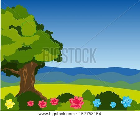 Year landscape of the nature with tree and flower