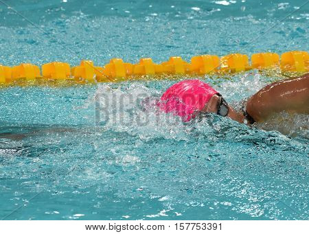 Hong Kong China - Oct 29 2016. Russian olympian and world champion breaststroke swimmer Yulia Yefimova swimming freestyle. FINA Swimming World Cup Preliminary Heats Victoria Park Swimming Pool.