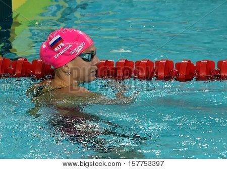 Hong Kong China - Oct 29 2016. Russian olympian and world champion breaststroke swimmer Yulia Yefimova in the finish. FINA Swimming World Cup Preliminary Heats Victoria Park Swimming Pool.