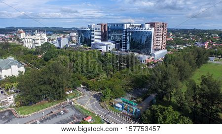 Labuan,Malaysia-Nov 22,2016:Aerial view of Labuan Financial Park Complex of Labuan,Malaysia.Its contained with areas for working,living,shopping,leisure & convention,include Alpha & Beta Park Tower.
